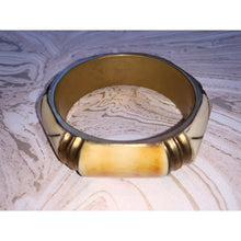 Load image into Gallery viewer, Vintage tribal silver bangle with ivory and bamboo wood detail