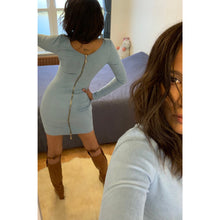 Load image into Gallery viewer, Suede-effect baby blue bodycon dress