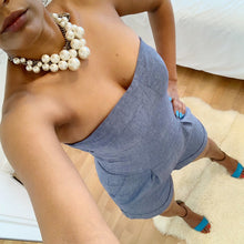 Load image into Gallery viewer, Denim coloured strapless playsuit