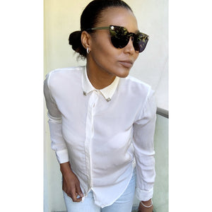 Cream silk blouse by Zara