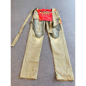 Custom made pair of denim dungarees
