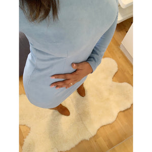 Suede-effect baby blue bodycon dress