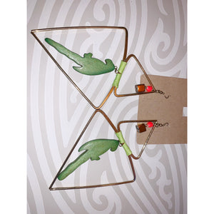 Hand-crafted green parrot earrings