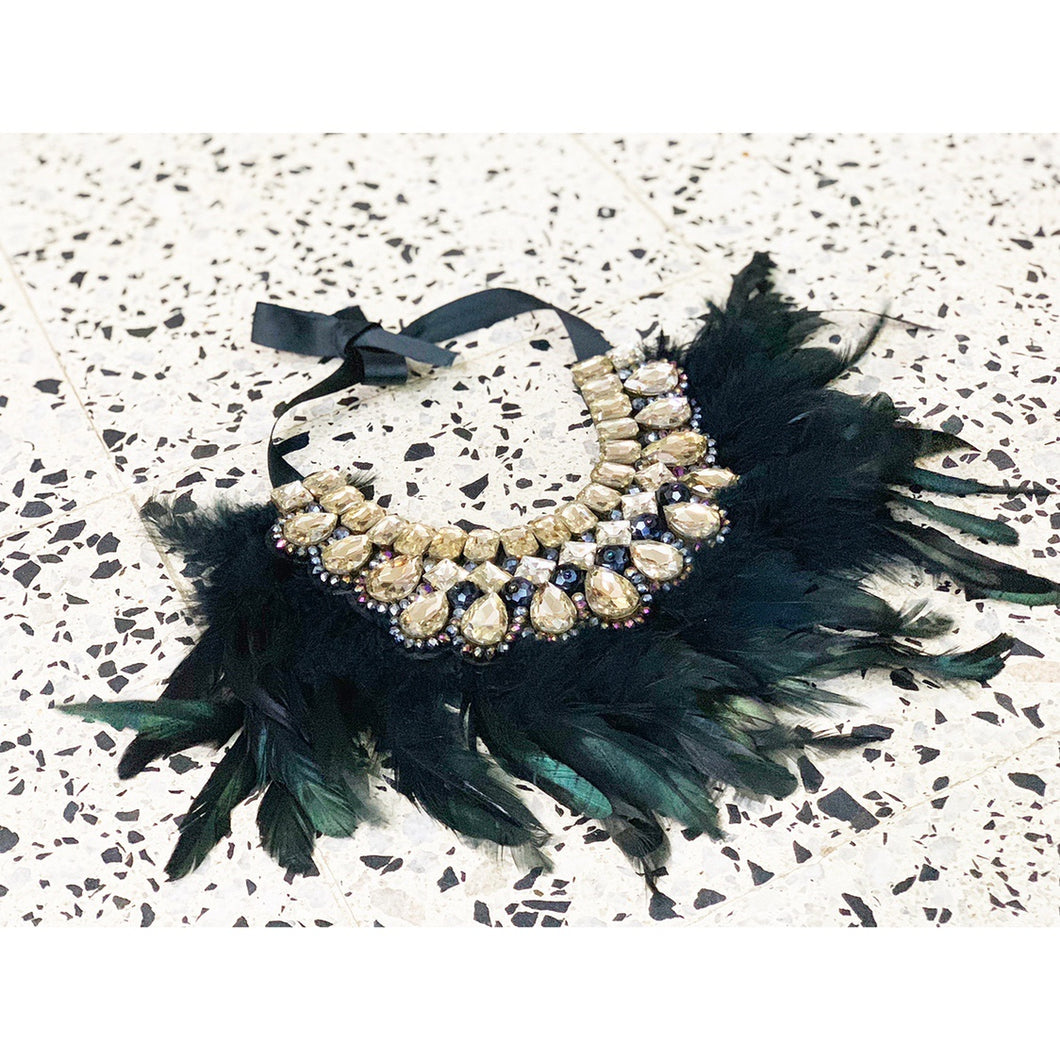 Gatsby-inspired crystal feathery statement necklace