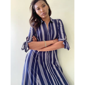 Beverly Hills nautical striped midi dress