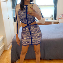 Load image into Gallery viewer, Nude and blue mesh/lace bodycon dress