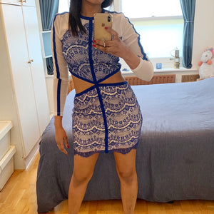 Nude and blue mesh/lace bodycon dress