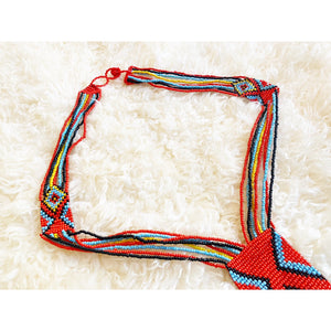 Afrochic scarlet/multicoloured beaded statement necklace