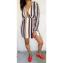 Load image into Gallery viewer, Striped mustard and black mini wrap-dress by Select