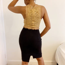 Load image into Gallery viewer, Intricately upcycled caramel crop top from Zara