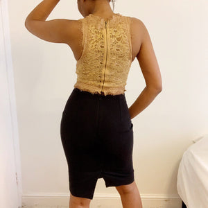 Intricately upcycled caramel crop top from Zara