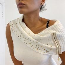 Load image into Gallery viewer, Vintage cashmere sleeveless ivory cowl-neck jumper with Swarovski crystals
