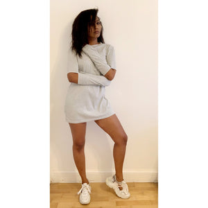 Grey melange jumper mini dress with symmetric cold-elbow effect