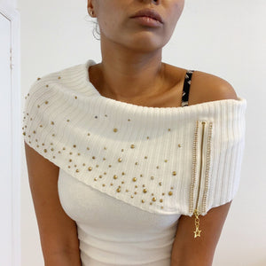 Vintage cashmere sleeveless ivory cowl-neck jumper with Swarovski crystals