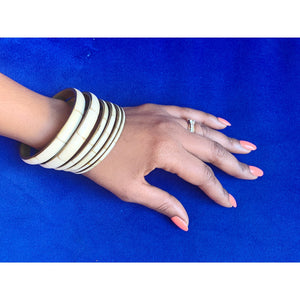 Antique vintage tribal ivory set in metal bangles