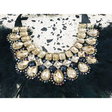 Load image into Gallery viewer, Gatsby-inspired crystal feathery statement necklace
