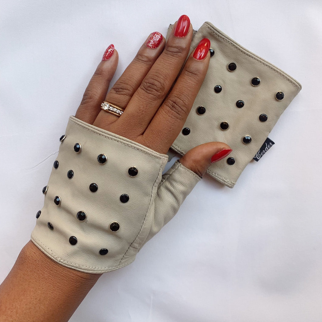 Studded Nappa leather fingerless rockstar punk gloves