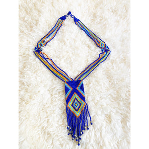 Afrochic blue/multicoloured beaded statement necklace