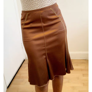 Leather look lace midi skirt by PaolaFrani