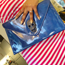 Load image into Gallery viewer, Très chic royal blue patent clutch