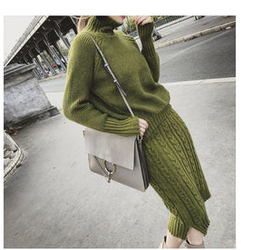 Twist Knit Turtleneck Sweater and Pencil Skirt coord