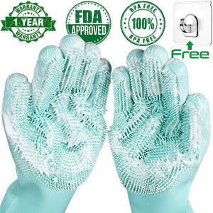 Magic Silicone Dishwashing Scrubber Dish Washing Sponge Rubber Scrub Gloves. Super comfortable and easy to use. Especially great for precious pots which have a nonstick film.