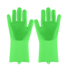Load image into Gallery viewer, Magic Silicone Dishwashing Scrubber Dish Washing Sponge Rubber Scrub Gloves. Super comfortable and easy to use. Especially great for precious pots which have a nonstick film.
