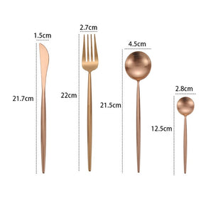 Luxury brushed metal Cutlery. Available in gold, silver, rose gold and gorgeous pastel colours to flatter any table setting.