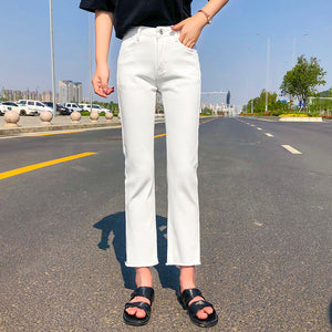 High waist distressed straight mom jeans