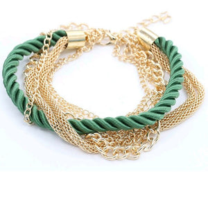fashion metal knitted mixed women multi-layer luxury bracelet multicolor  5 pcs Free shipping