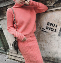 Load image into Gallery viewer, Twist Knit Turtleneck Sweater and Pencil Skirt coord
