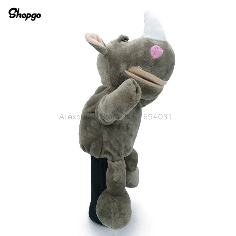 White Angle Rhinoceros Cartoon Animal Golf Head Cover 460cc Driver Headcover Golf Club Accessories Mascot Novelty Cute Gift