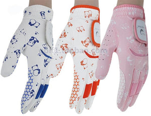 New Child Golf Gloves Sports Breathable PU Golf Clubs Trainning Gloves Double Hands One Pair For Boys Girls 3 Colors