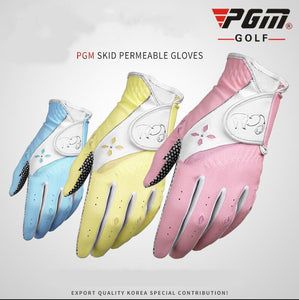 1 Pair Summer Korea style Golf Gloves Women PU Fabric Non-Slip Sports Gloves Wear-Resistant Practical Protection Golf Gloves