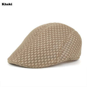 Outdoor New Fashion Golf Beret Cap Flat Cap British Style Peaked Cap Summer Breathable Mesh Travel sport Golf Hat for Men Women