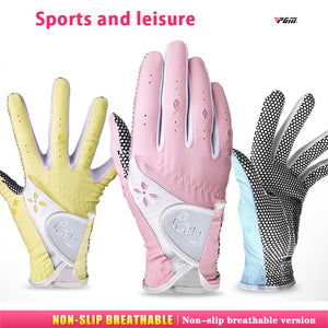 Pair! Sports and Leisur Golf/Tennis Ball Sportswear Gloves Women PU Soft Non-slip Gloves Lady Hands Sunscreen Breathable New