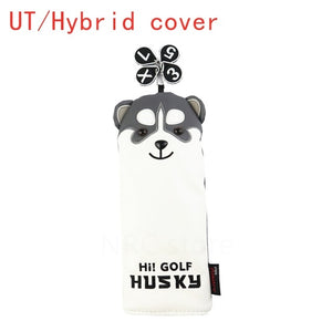 NRC Golf Club Headcover Lovely Golf Husky Golf Driver Fairway Wood HeadCovers set Cartoon Mallet Putter cover Iron set