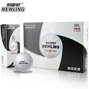 12 pcs/ Box Golf Balls Supur Newling TOUR PU Long Distance Soft PU 3-pieces Golf Ball