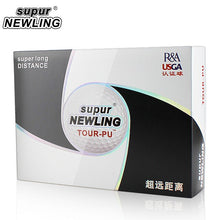 Load image into Gallery viewer, 12 pcs/ Box Golf Balls Supur Newling TOUR PU Long Distance Soft PU 3-pieces Golf Ball