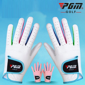 Pgm Girls  Boys Slip-Resistant Golf Gloves Children Microfiber Cloth Sports Gloves Left And Right Breathable Golf Mitten