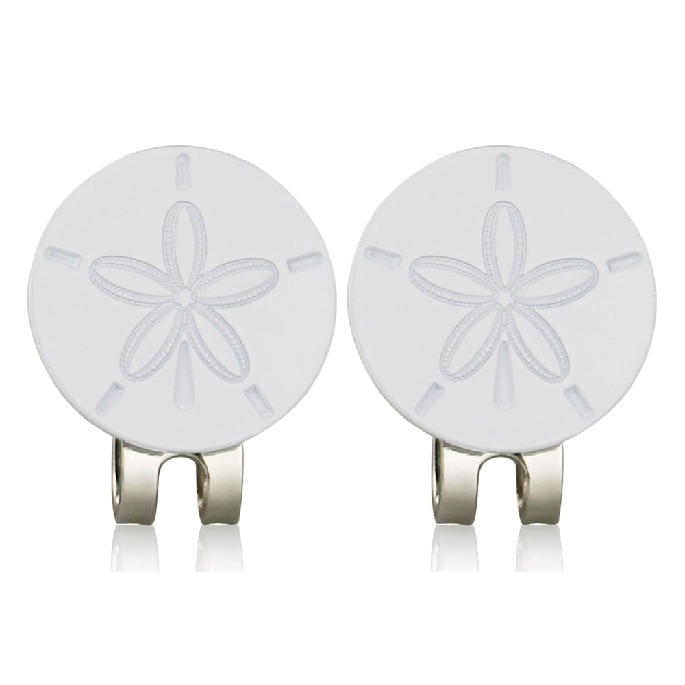 2pcs/lot Sand Dollar Golf Ball Marker - W/Bonus Magnetic Hat Clip