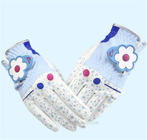 One Pair Lady Flower Golf Gloves PU Breathable Women Outdoor Sports Golf Clubs Trainning Gloves Double Handed 4 Colors