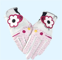 Load image into Gallery viewer, One Pair Lady Flower Golf Gloves PU Breathable Women Outdoor Sports Golf Clubs Trainning Gloves Double Handed 4 Colors