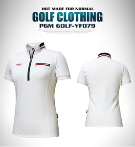 2018 PGM Golf Clothing women short sleeve Summer Breathable sports T shirt golf Slim Training apparel lady Top jersey size S-XL