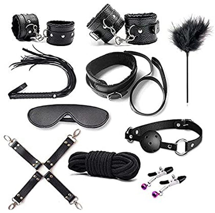 Sensual Secrets Collection of Bondage and fetish toys - ball gag, cuffs, restraints, floggers and nipple clamps.
