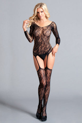 Long Sleeved Suspender Bodystocking W / Scooped  Back - One Size - Black BW-114B
