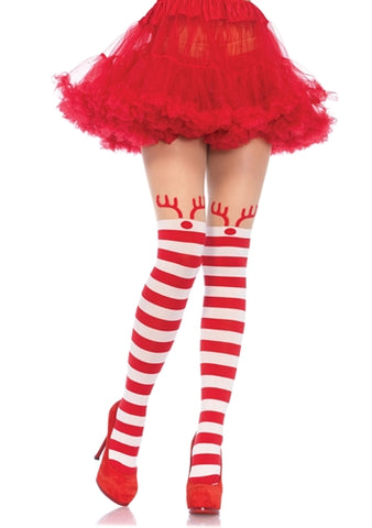 Rudolph Reindeer Opaque Striped Pantyhose With Sheer Thigh High Accent LA-7945