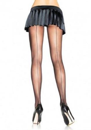 Sheer Backseam Pantyhose - Plus Size 1x-2x - Black LA-9002X