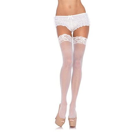 Lace Top Sheer Thigh High - One Size - White LA-1011WHT
