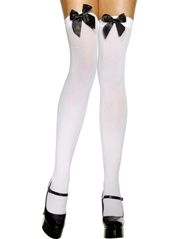 Thigh High Stockings With Black Bow - White FV-42760